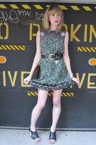 green Anna Sui dress - black Vintage Ralph Lauren belt - gold vintage bracelet -