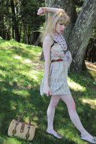beige fleurette dress - brown vintage belt - pink Agatha earrings - pink vintage