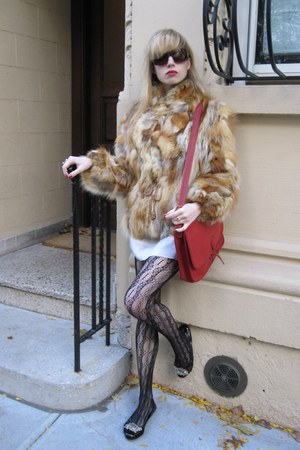 tawny vintage jacket - ivory Anna Sui dress - brown Chanel sunglasses - red vint