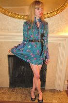 blue Anna Sui dress - brown vintage belt - gold vintage earrings - gold vintage
