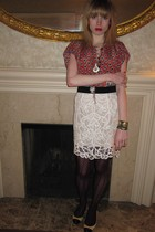 red Anan Sui top - white 31 phillip lim shirt - white Vintage costume necklace -