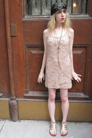 pink vintage dress - gray vintage madcaps hat - gold vintage necklace - gold vin