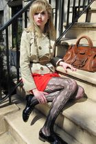 beige Valentino Red jacket - red 31 phillip lim dress - brown belt - gold vintag