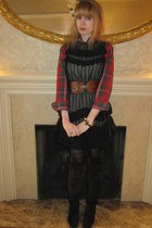 red Ralph Lauren top - black 31 phillip lim dress - brown linea pelle belt - bla