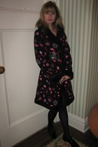 Betsey Johnson coat - vintage chanel belt - Vintage costume necklace - tights -