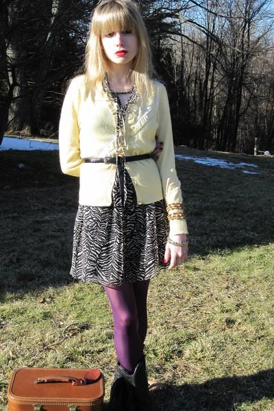 yellow hwr sweater - black Nanette Lepore dress - black Nanette Lepore dress - b