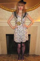purple Anna Sui dress - white Anna Sui dress - gold Vintage costume necklace - w