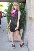 black ruffle 31 Phillip Lim dress - hot pink la rosa style rev scarf