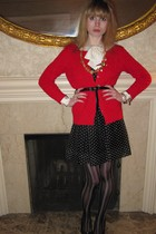 red Ralph Lauren sweater - black Jill Stuart dress - black Judith Jack belt - br