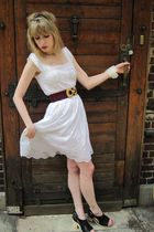 white Jill Stuart dress - purple vintage miss dior belt - white necklace - white