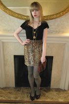 gold 31 phillip lim skirt - gray herringbone tights