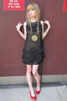 gold fish vintage necklace - black netted 31 phillip lim dress