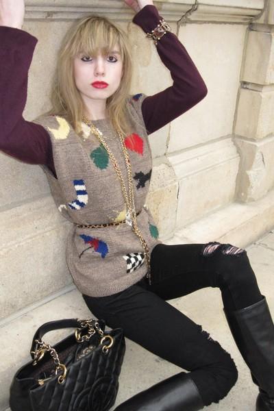beige vintage Bergdorf Goodman vest - purple sweater - black J Brand jeans - bro