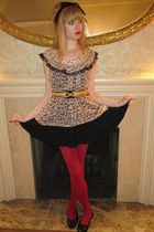 beige Anna Sui blouse - black milly top - black Betsey Johnson skirt - black vin