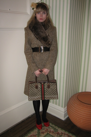 coat - vintage chanel belt - tights - Vintage Gucci purse - Chanel shoes