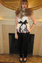 white catherine malandrino top - black See by Chloe pants - brown vintage belt -