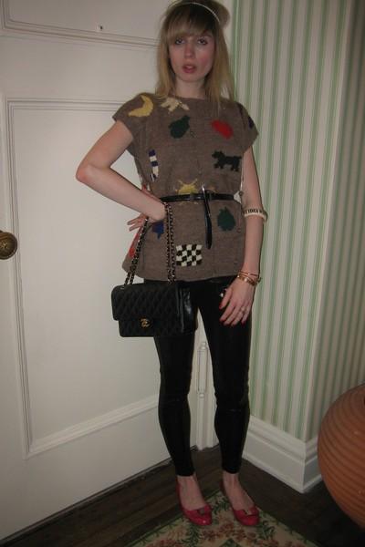 vintage Bergdorf Goodman vest - leggings - Judith Jack belt - Vintage costume ne