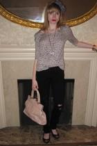 gray Rebecca Taylor top - black J Brand jeans - white Vintage costume necklace -