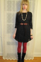 black See by Chloe dress - purple belt - white Vintage costume necklace - gold V