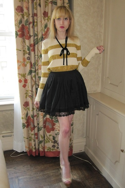 black pleated Twenty8Twelve skirt - cream natalie JCrew sweater