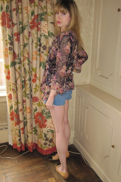 deep purple flower Anna Sui dress - periwinkle jean vintage levis shorts