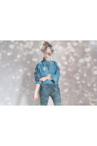 H&M pants - silk vintage shirt