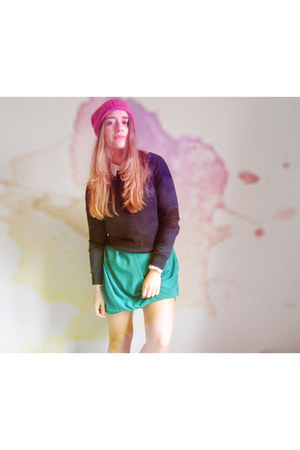 bubble gum beanie COS hat - turquoise blue asos dress - white calvin klein shirt