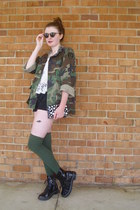 army green camouflage vintage jacket - black combat Target boots
