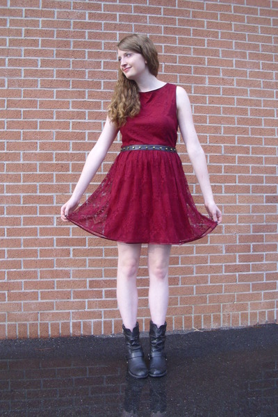 maroon lace Lulus dress - black western Charlotte Russe boots