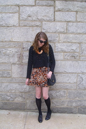 black open knit thrifted sweater - orange fall floral ShopWasteland dress