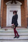 Black-pea-sears-coat-maroon-vintage-hat-maroon-sweater-h-m-tights