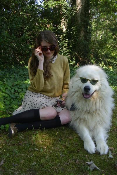 gold vintage sweater - cream terrier print Lulus dress