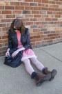 Brown-leopard-print-target-boots-light-pink-fairytale-esque-vintage-dress