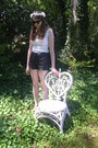 White-lace-thrifted-shirt-black-leather-vintage-shorts