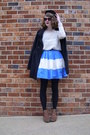 Brown-leopard-print-target-boots-blue-colorblocked-eshakti-dress