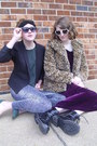 Magenta-velvet-vintage-dress-camel-leopard-print-threadsence-coat