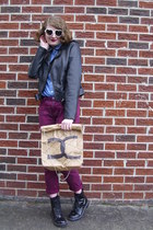light brown paper DIY Faux Chanel bag - black combat Target boots
