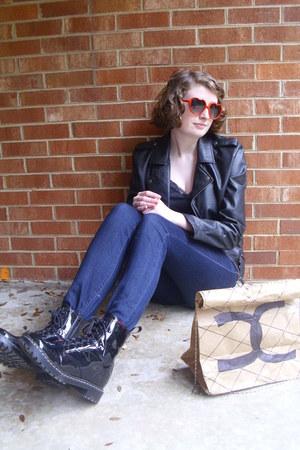camel faux chanel DIY bag - black combat Target boots - navy high rise BDG jeans