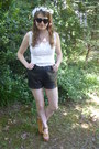 Black-leather-vintage-shorts-white-lace-thrifted-shirt
