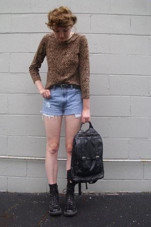 black combat Target boots - brown leopard print vintage shirt