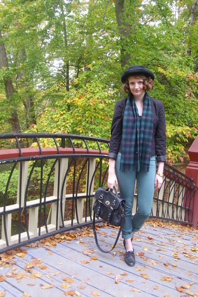 green plaid JCrew scarf - green high rise BDG jeans - black vintage hat