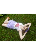 white cat Whimsy Tees top - light purple pastel vintage shorts