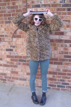 brown leopard print Flying Tomato jacket - black combat Target boots
