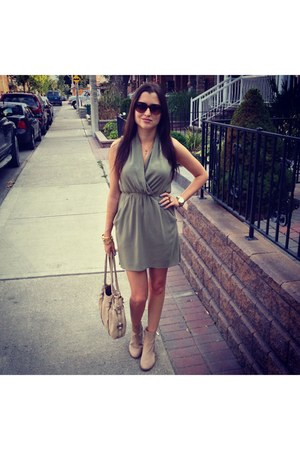 beige H&M boots - green Aritzia dress - beige Anthropologie bag