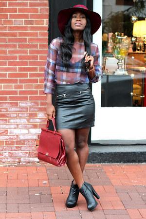 Zara blouse - Forever 21 boots - vintage hat - H&M skirt