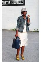 Zara bag - madewell hat - madewell jacket - Pedro Garcia sandals - BCBG skirt