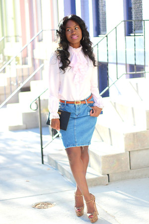 madewell bag - Dorothy Perkins skirt - brian atwood sandals - vintage blouse