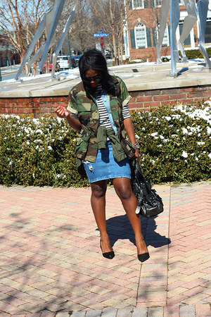 army surplus jacket - Mulberry bag - Alice  Olivia pumps - Dorothy Perkins skirt