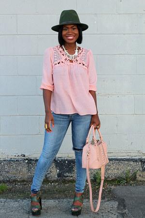 just fab jeans - just fab bag - Nordstrom blouse - Pour La Victoire heels