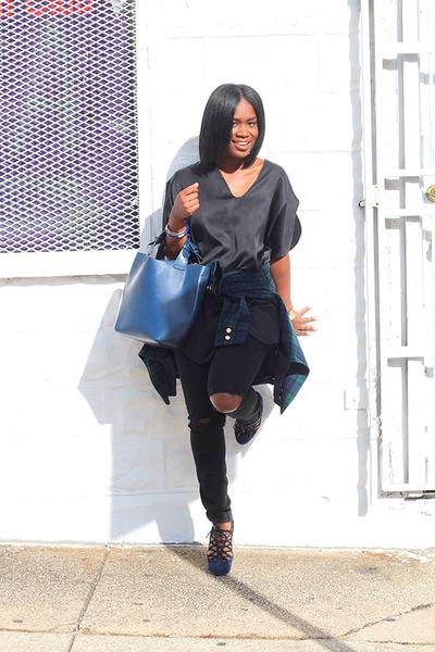 madewell jeans - Pendleton blazer - Zara bag - shoemint pumps - vintage top